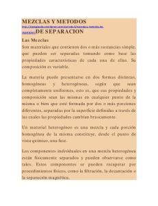 MEZCLAS Y METODOS  SEPARACION