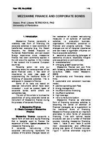 MEZZANINE FINANCE AND CORPORATE BONDS