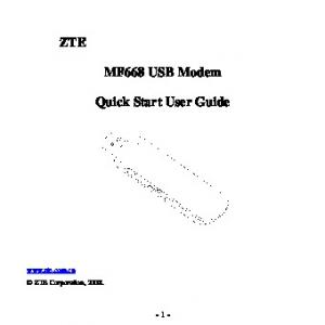MF668 USB Modem. Quick Start User Guide