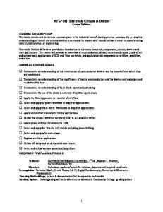 MFG*142: Electronic Circuits & Devices Course Syllabus