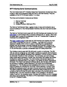 MFT B-Series Serial Communications