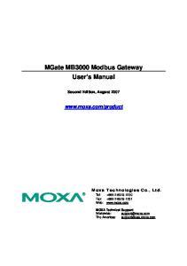 MGate MB3000 Modbus Gateway User s Manual