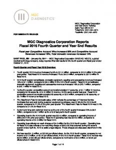 MGC Diagnostics Corporation Reports Fiscal 2016 Fourth Quarter and Year End Results
