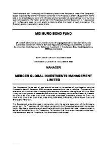 MGI EURO BOND FUND MERCER GLOBAL INVESTMENTS MANAGEMENT LIMITED