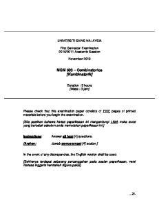 MGM 503 Combinatorics [Kombinatorik]