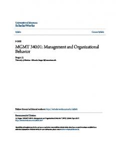 MGMT : Management and Organizational Behavior