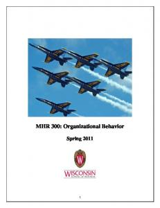 MHR 300: Organizational Behavior