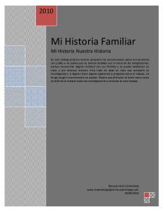 Mi Historia Familiar Mi Historia Nuestra Historia