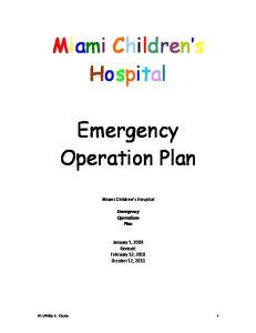Miami Children's Hospital. Emergency Operation Plan