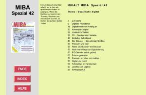 MIBA. Spezial 42. INHALT MIBA Spezial 42. Thema : Modellbahn digital