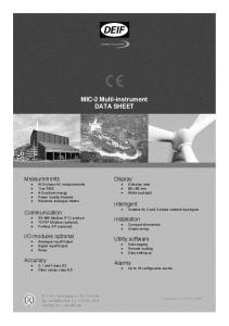 MIC-2 Multi-instrument DATA SHEET
