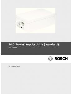 MIC Power Supply Units (Standard) MIC Series. Installation Manual