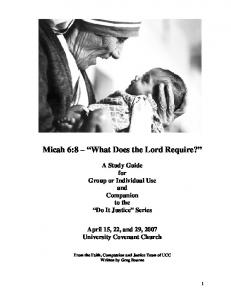 Micah 6:8 What Does the Lord Require?