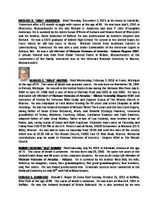 MICHAEL R. Mike ANDERSON Vietnam Veterans of America Auburn Chapter #554 MANUEL E. Mitch ARGYRIS