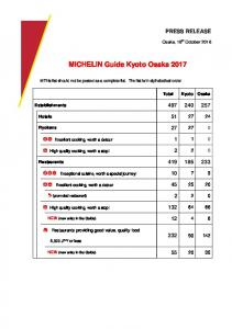 MICHELIN Guide Kyoto Osaka 2017