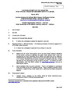 MICHIGAN DEPARTMENT OF EDUCATION STATE SPECIAL EDUCATION ADVISORY COMMITTEE (SEAC) May 6, 2015
