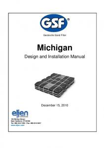 Michigan. Design and Installation Manual. December 15, Geotextile Sand Filter