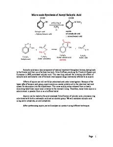 Micro scale Synthesis of Acetyl Salicylic Acid