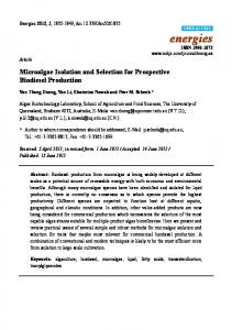 Microalgae Isolation and Selection for Prospective Biodiesel Production