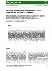 Microalgal triacylglycerols as feedstocks for biofuel production: perspectives and advances