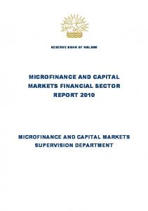 MICROFINANCE AND CAPITAL MARKETS FINANCIAL SECTOR REPORT 2010