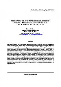 MICROFINANCE AND POVERTY REDUCTION IN MALAWI: WHAT HAS HAPPENED TO THE MICROFINANCE REVOLUTION?
