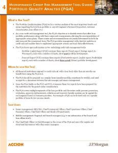 MICROFINANCE CREDIT RISK MANAGEMENT TOOL GUIDES PORTFOLIO QUALITY ANALYSIS (PQA)