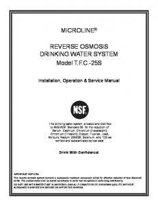 MICROLINE. REVERSE OSMOSIS DRINKING WATER SYSTEM Model T.F.C.-25S