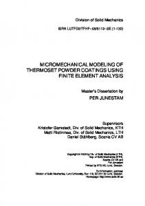 MICROMECHANICAL MODELING OF THERMOSET POWDER COATINGS USING FINITE ELEMENT ANALYSIS