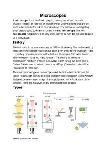 Microscopes. History. Types