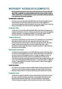 MICROSOFT ACCESS 2013 (COMPLETO)