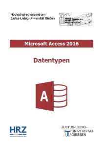 Microsoft Access 2016 Datentypen