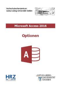 Microsoft Access 2016 Optionen