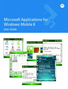 Microsoft Applications for Windows Mobile 6. User Guide