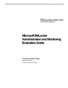 Microsoft BitLocker Administration and Monitoring Evaluation Guide
