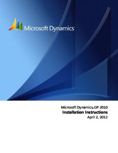 Microsoft Dynamics GP Installation Instructions