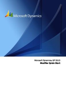 Microsoft Dynamics GP Modifier Quick Start