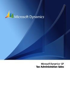 Microsoft Dynamics GP. Tax Administration Sales