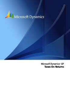 Microsoft Dynamics GP. Taxes On Returns