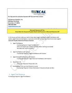 Microsoft Dynamics GP Tip: Cheat Sheet for Accounts Payable Month End Processes in Microsoft Dynamics GP
