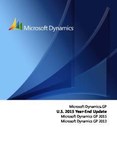 Microsoft Dynamics GP. U.S Year-End Update