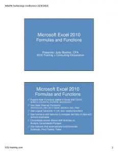 Microsoft Excel 2010 Formulas and Functions