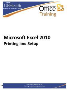 Microsoft Excel 2010 Printing and Setup