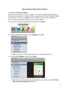 Microsoft Excel 2011: Basic Tutorial