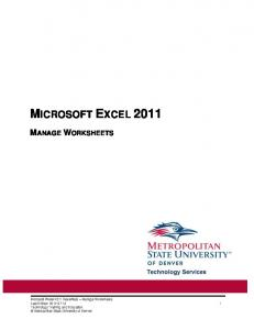MICROSOFT EXCEL 2011 MANAGE WORKSHEETS