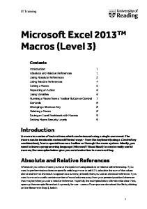 Microsoft Excel 2013 Macros (Level 3)