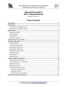 Microsoft Excel 2013 Part 3: Advanced Excel