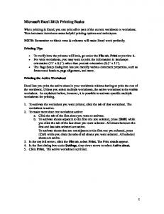 Microsoft Excel 2013: Printing Basics