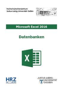 Microsoft Excel 2016 Datenbanken
