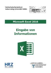 Microsoft Excel 2016 Eingabe von Informationen